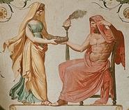 Rea dandole a Cronos el Onfalos