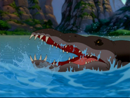 Sharptooth swimmer head out of water