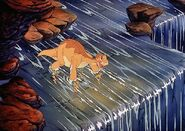 Littlefoot playing in Waterfall deleted scene