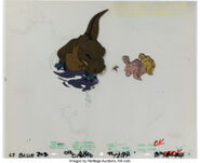 The Land Before Time Sharptooth Multi-Character Color Model Cel and Drawing Don Bluth, 1988 1