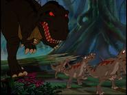 Dryosaurs fleeing Tyrannosaurus