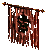 A tattered war-banner in the Draracle's Caves - (Lands of Lore: Guardians of Destiny)
