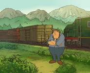 Hank vor dem Express