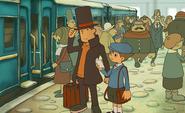 Layton und Luke im Bahnhof