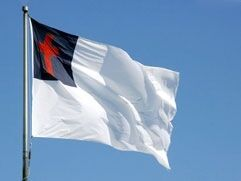 The Christian Flag, representing the Church, and the League of Christian Nations