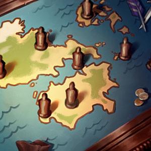 Karte von Runeterra, einem Planeten der physischen Welt.