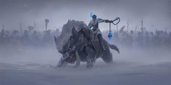 The Iceborn known as Sejuani riding an Iceborn drüvask.