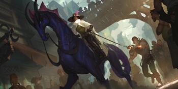 A human named Lariette Rose riding a Sea Horse.