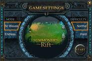 League of Legends Turret Defense Game Settings Screen