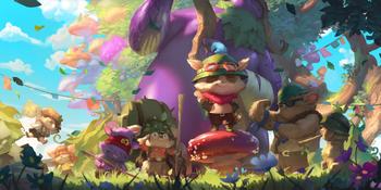 Teemo tending his Puffcap mushroom farm.