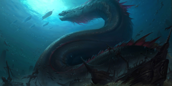 Sea Serpent about to attack a hunting ship.