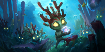 A Coral Creature eating a bubble.