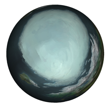 The arctic region of Runeterra as seen from a globe-rendition of its world map.