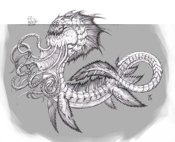 A drawing of a kraken with a ship as a reference of size.