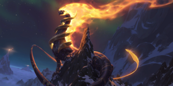 A Celestial Dragon known as Inviolus Vox perched somewhere on Mount Targon.