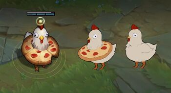 A chicken with a pizza <small>(Culinary Masters universe)</small>.