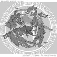 Jhin Kennen Leona Nidalee Twisted Fate DWG Splash Concept 03