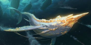 A golden narwhal being chased by a fleet of harpooners.