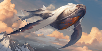 A Cloud Drinker flying over some mountains.