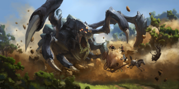 Vilemaw attacking a carriage.