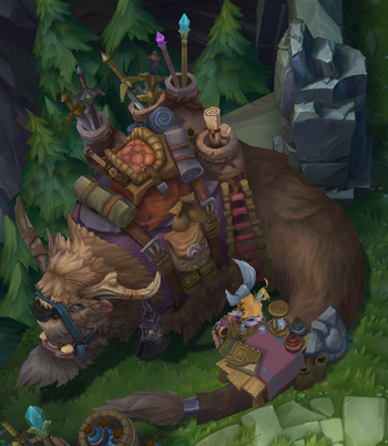 A yordle shopkeeper with his /her Bantha beast of burden.