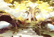 Spirit Bonds Background Golden Tree of Peace