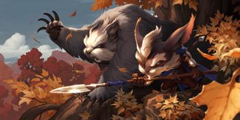 A Yordle beastmasters and his loyal Badgerbear companion.