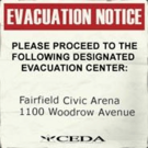 Sign evacuation notice Civic Arena