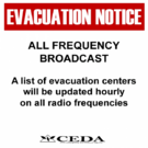 Sign evacuation notice radio