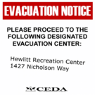 Sign evacuation notice Hewlitt Rec