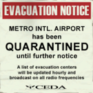 Sign evacuation notice airport quarantine