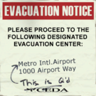 Sign evacuation notice Metro