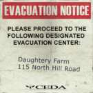 Sign evacuation notice Daughtery Farm