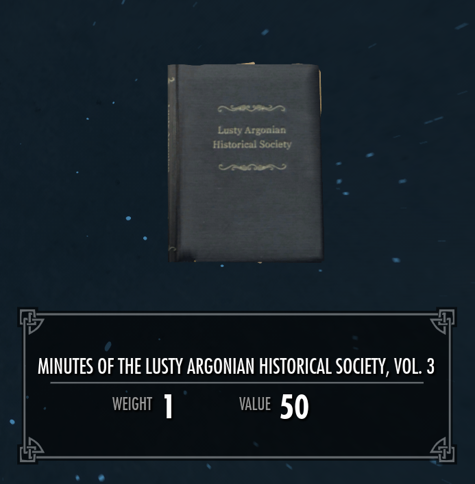 Lusty Argonian Maid Historical Society, Vol. 3