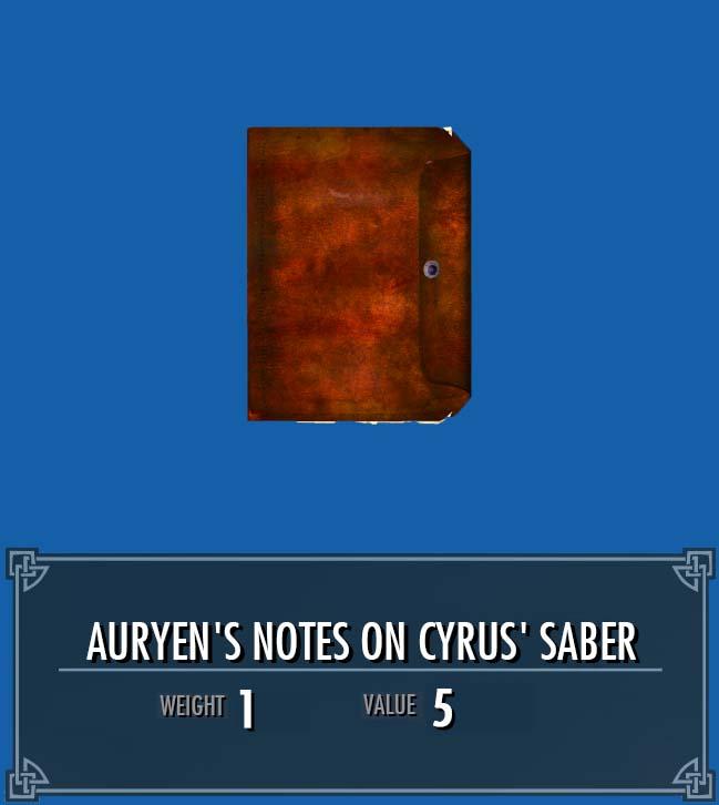 Auryen's Notes on Cyrus' Saber