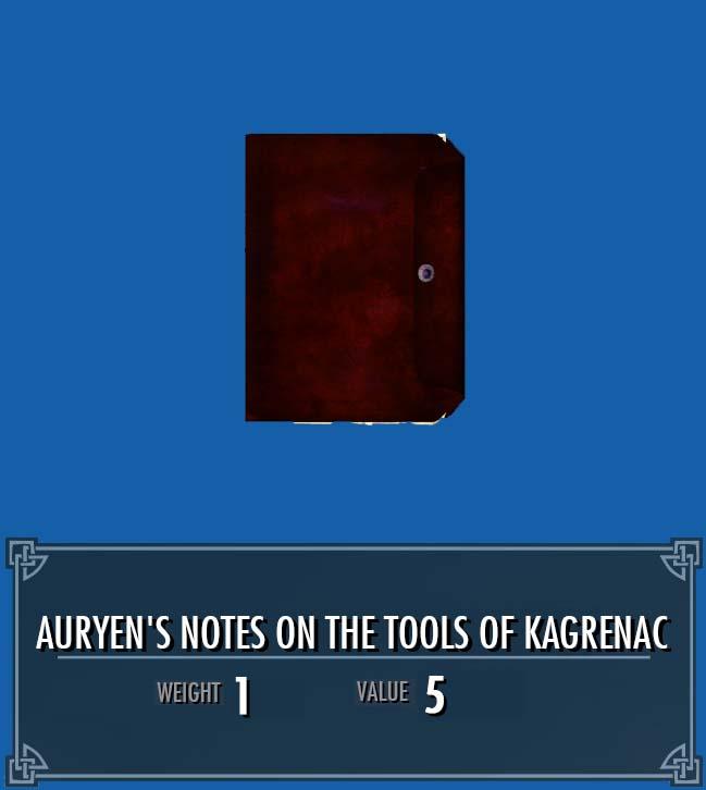 Auryen's Notes on the Tools of Kagrenac