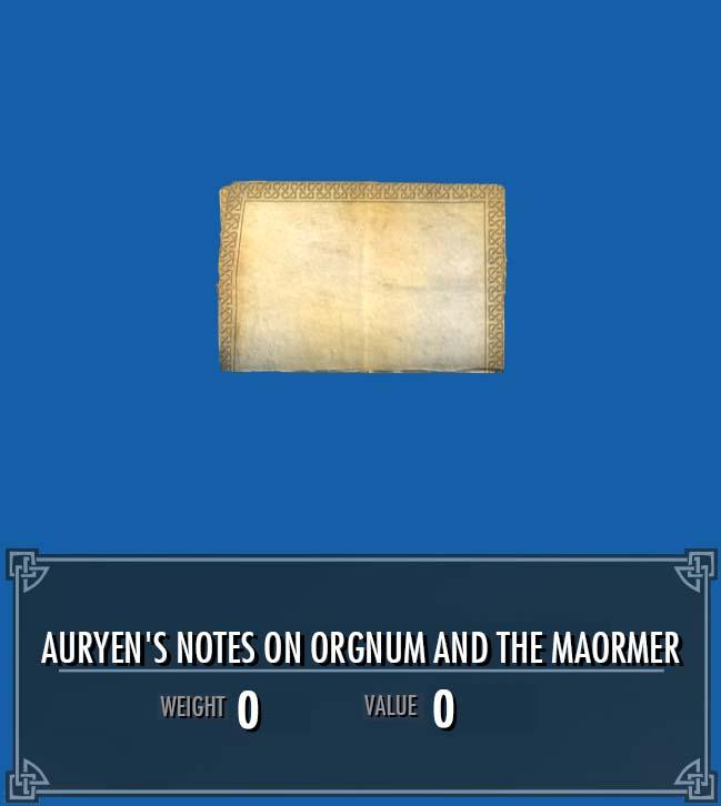 Auryen's Notes on Orgnum and the Maormer