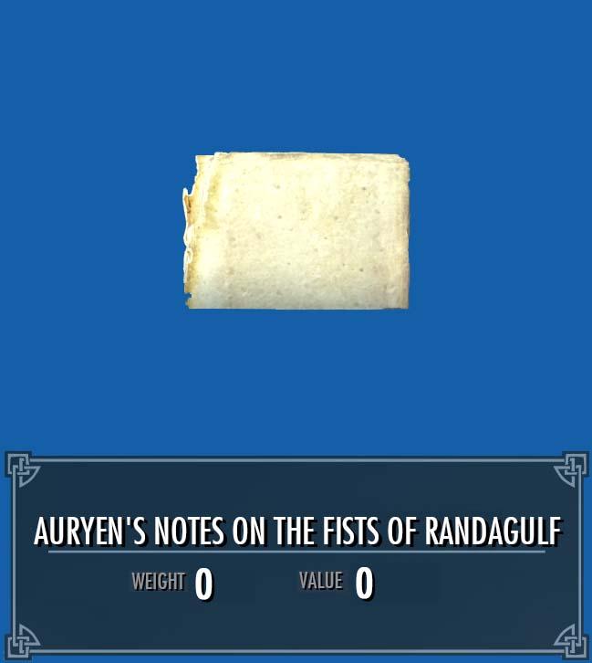 Auryen's Notes on the Fists of Randagulf