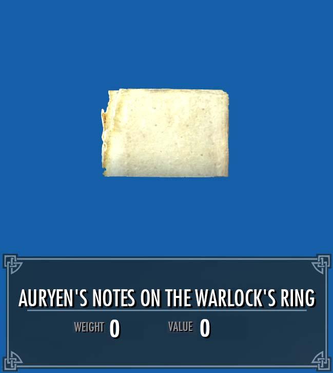 Auryen's Notes on the Warlock's Ring