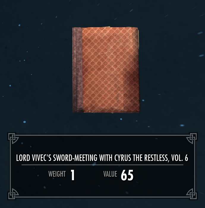 Lord Vivec's Sword-Meeting with Cyrus the Restless, Vol. 6