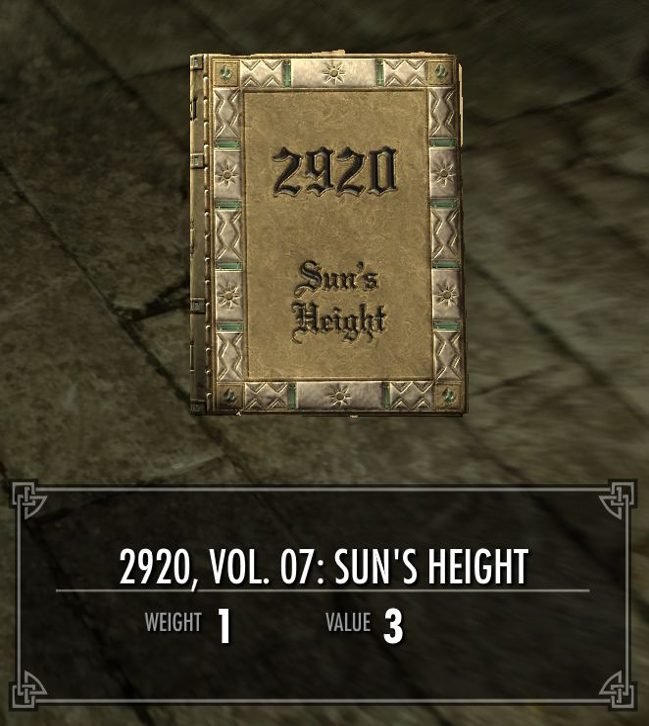 2920, Vol. 07: Sun's Height