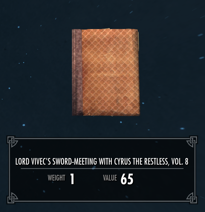 Lord Vivec's Sword-Meeting with Cyrus the Restless, Vol. 8