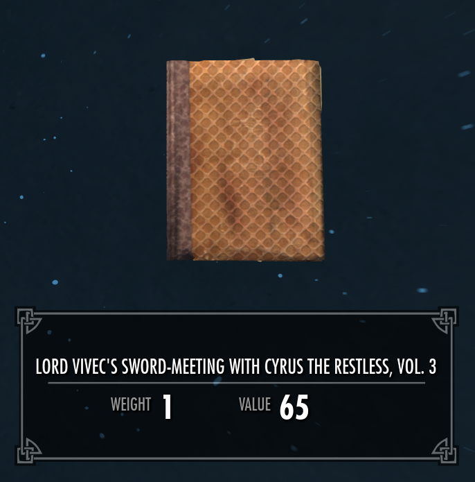 Lord Vivec's Sword-Meeting with Cyrus the Restless, Vol. 3