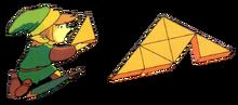 TLoZ Link Reassembling the Triforce of Wisdom Artwork.png