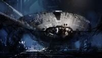 Ship in hangar by steve burg