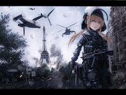 Konachan.com - 128260 aircraft blonde hair building call of duty city combat vehicle gloves gray eyes gun mask military sky terabyte (rook777) tree uniform weapon