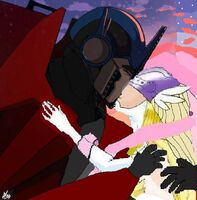 Angewomon and optimus kissing wedding day