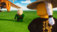 Lloyd und der goldene Drache verbeugen sich