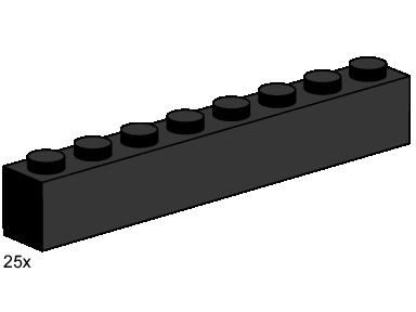 3478 1x8 Black Bricks