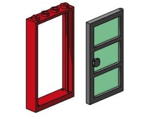 B003 Red Frame, Black Door, Green Pane